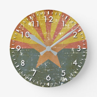 Worn Patriotic Arizona State Flag Round Clock