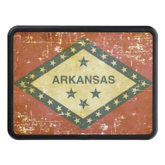 Worn Patriotic Arkansas State Flag Trailer Hitch Cover