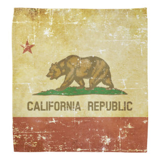 Worn Patriotic California State Flag Bandana