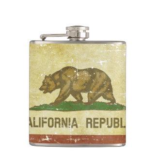 Worn Patriotic California State Flag Hip Flask
