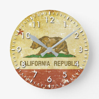 Worn Patriotic California State Flag Round Clock