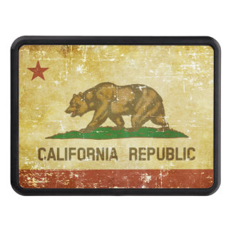 Worn Patriotic California State Flag Trailer Hitch Cover