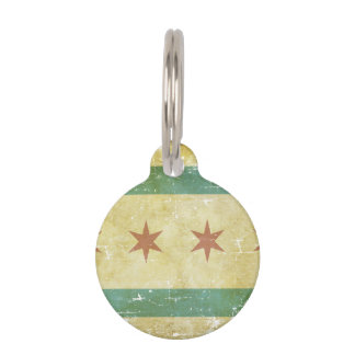 Worn Patriotic Chicago Flag Pet Tag