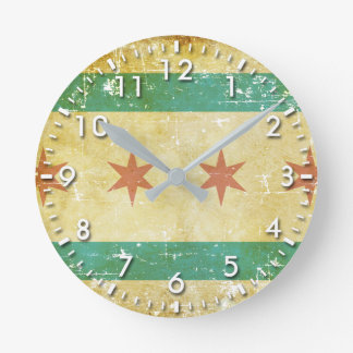 Worn Patriotic Chicago Flag Round Clock