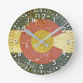Worn Patriotic Colorado State Flag Round Clock