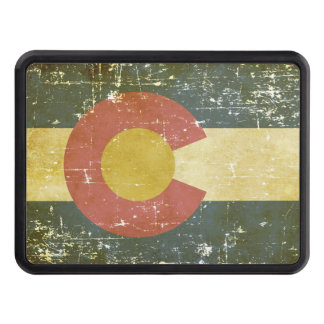 Worn Patriotic Colorado State Flag Trailer Hitch Covers