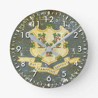Worn Patriotic Connecticut State Flag Round Clock