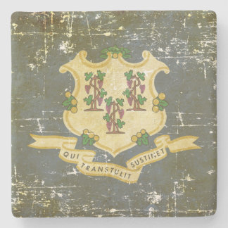 Worn Patriotic Connecticut State Flag Stone Coaster