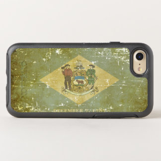 Worn Patriotic Delaware State Flag OtterBox Symmetry iPhone 7 Case