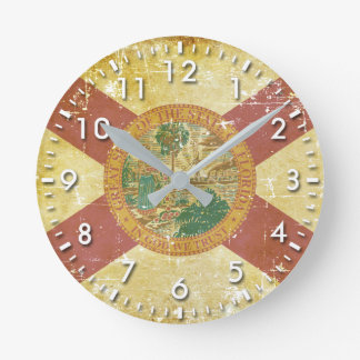 Worn Patriotic Florida State Flag Round Clock