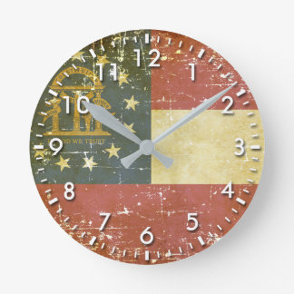 Worn Patriotic Georgia State Flag Round Clock