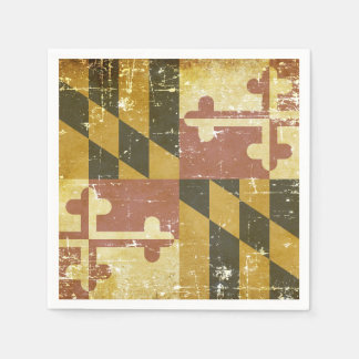 Worn Patriotic Maryland State Flag Disposable Napkin