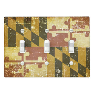 Worn Patriotic Maryland State Flag Light Switch Cover
