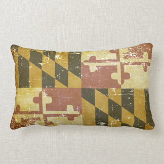 Worn Patriotic Maryland State Flag Lumbar Pillow