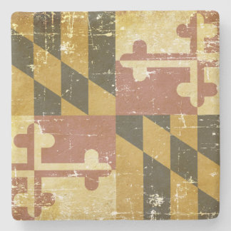Worn Patriotic Maryland State Flag Stone Coaster
