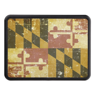 Worn Patriotic Maryland State Flag Trailer Hitch Cover