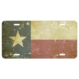Worn Patriotic Texas State Flag License Plate