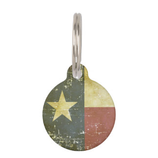 Worn Patriotic Texas State Flag Pet Tag