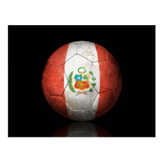 Worn Peruvian Flag Football Soccer Ball Postcard