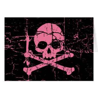 Worn Pink Skull and Crossbones Card