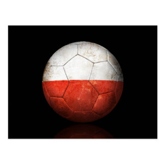 Worn Polish Flag Football Soccer Ball Postcard