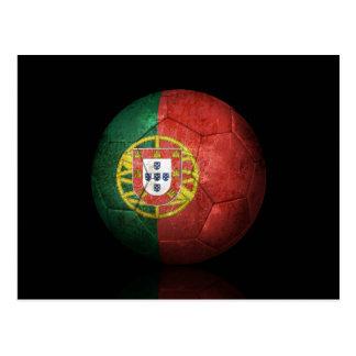 Worn Portuguese Flag Football Soccer Ball Postcard