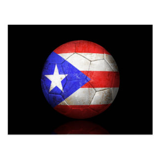 Worn Puerto Rican Flag Football Soccer Ball Postcard