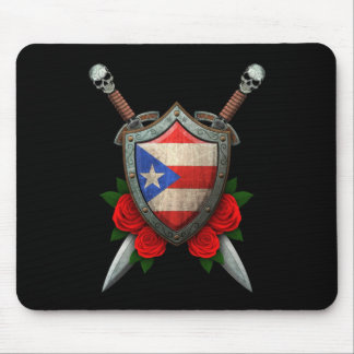 Worn Puerto Rico Flag Shield and Swords with Roses Mouse Pad