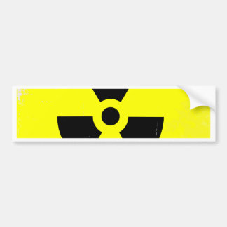Worn Radioactive Warning Symbol Bumper Sticker