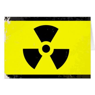 Worn Radioactive Warning Symbol Card