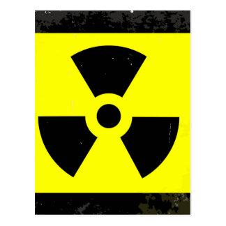 Worn Radioactive Warning Symbol Postcard