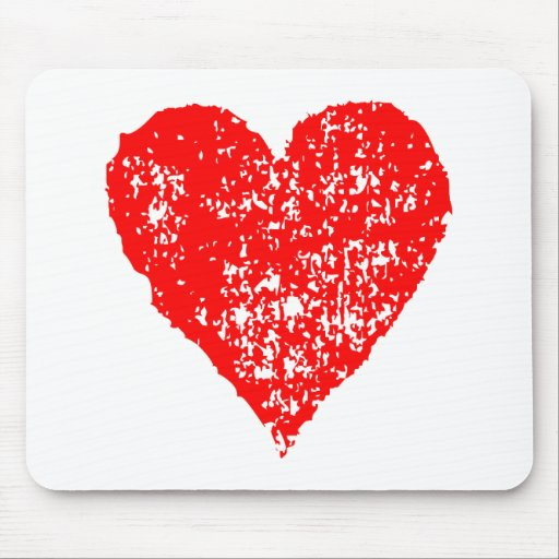 Worn Red Heart Mouse Pad