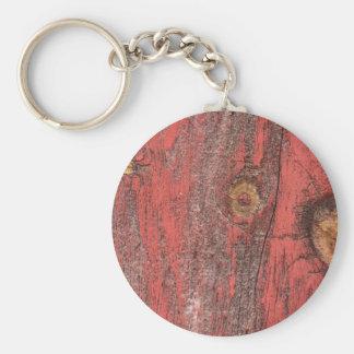 Worn Red Wood Keychain