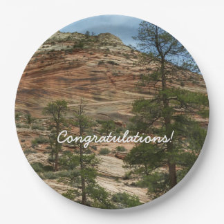 Worn Rock Walls in Zion National Park Paper Plate