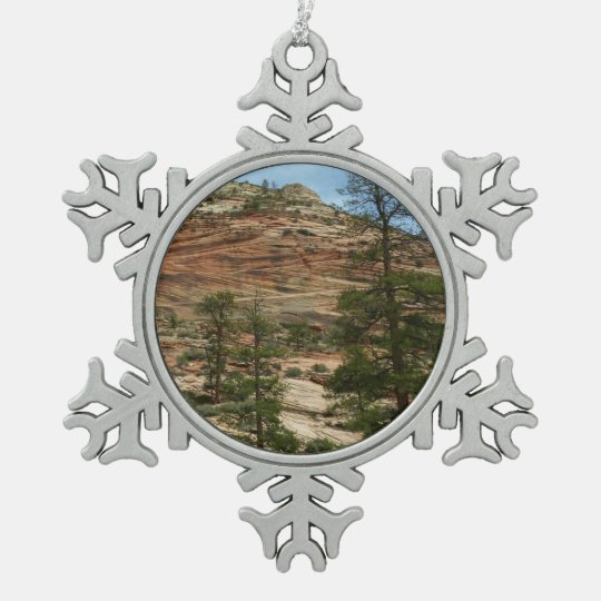 Worn Rock Walls in Zion National Park Pewter Snowflake Ornament