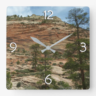 Worn Rock Walls in Zion National Park Square Wall Clock