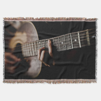 Worn Rugged Acoustic Guitar Music Throw Blanket