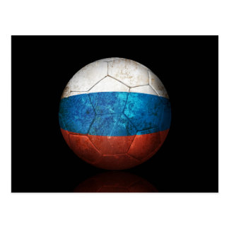 Worn Russian Flag Football Soccer Ball Postcard