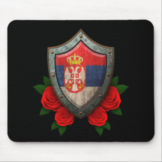 Worn Serbian Flag Shield with Red Roses Mouse Pad
