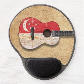 Worn Singapore Flag Acoustic Guitar Gel Mouse Pad