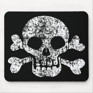 Worn Skull and Crossbones Mouse Pad