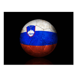 Worn Slovenian Flag Football Soccer Ball Postcard