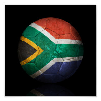 Worn South African Flag Football Soccer Ball Poster