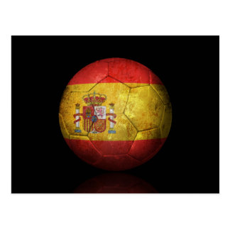 Worn Spanish Flag Football Soccer Ball Postcard