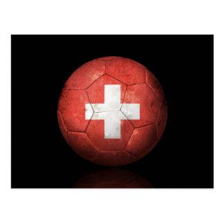 Worn Swiss Flag Football Soccer Ball Postcard