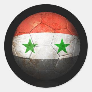 Worn Syrian Flag Football Soccer Ball Classic Round Sticker