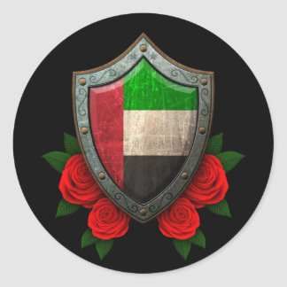 Worn United Arab Emirates Flag Shield with Roses Classic Round Sticker
