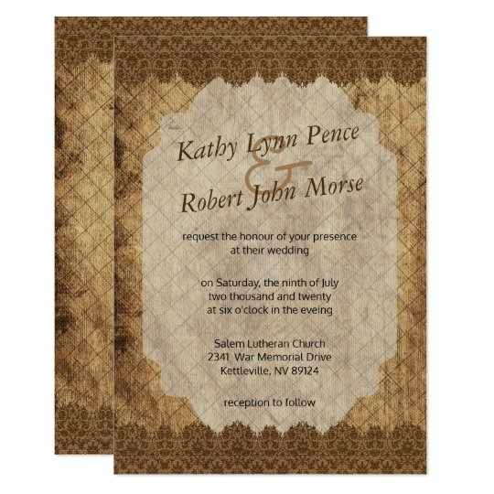 Worn Vintage Design Wedding Invitation