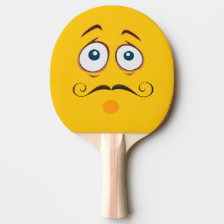 Worried  Mustached Yellow Emoji Ping Pong Paddle
