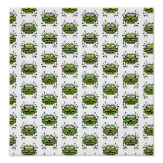 Worried Robot Character Illustration Pattern Poster